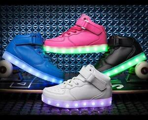 Girls Boys USB Light Up Shoes Kids Child High Top Luminous Casual ... 23738f11ee