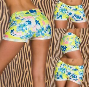 Sexy-Miss-Ladies-Girly-Hip-Hot-Pant-Shorts-36-L-38-XL-40-Flower