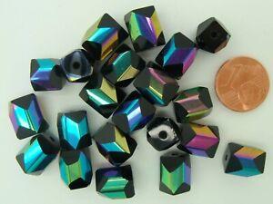 20 perles verre Noir facette métallisé irisé tubes 10mm DIY Bijoux Loisirs
