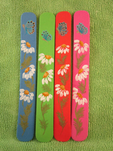 12 of Delightfully Hand Painted Daisy & Butterfly Foam Book Marks