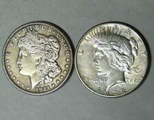 Bulk Lot - (2 Coin) 1921 Morgan Silver Dollar 1922 Peace 90% Eagle Rev Bullion