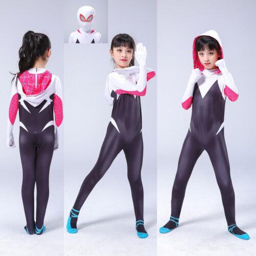 Into the Spider-Verse Gwen Kids Cosplay Costume Zentai Suit 2019 Spider-Man