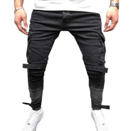 Men Jeans Pants Denim Cargo Combat Slim Fit Biker Pocket Outdoor Casual Trousers