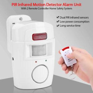 Home-Sicher-PIR-Hausalarm-Bewegungsmelder-Alarm-Alarmanlage-mit-2-Fernbedienung