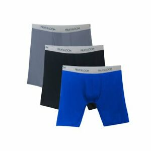 3 Pk Fruit of the Loom Size 3XL Men's EverLight Long Leg Assorted Boxer Briefs