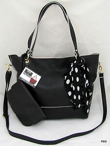 Image Is Loading Nyc By Perlina Faux Leather Black Shoulder Handbag