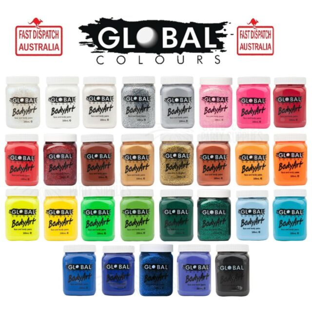 25+ COLOURS GLOBAL BODY ART 200ML FACE AND BODY PAINT READY NOW