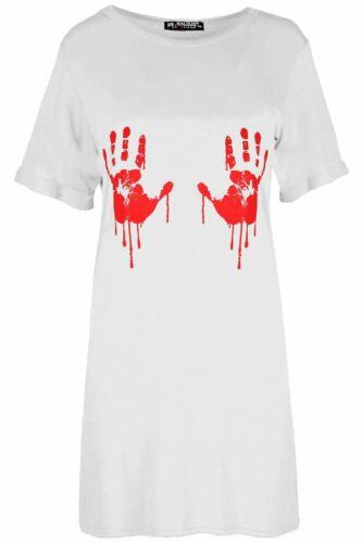 Femme Femmes Surdimensionné sanglantes Mains dents Citrouille Crâne Halloween Robe T-Shirt