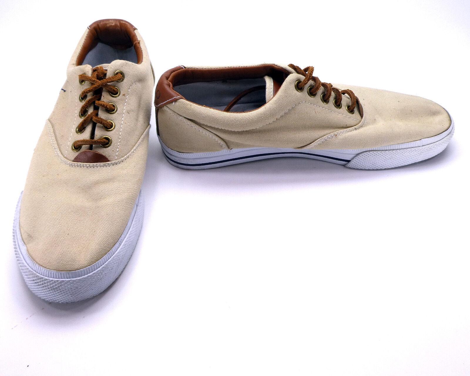 Polo Ralph Lauren shoes Vaughn Athletic Canvas Khaki Tan Sneakers Size 9.5
