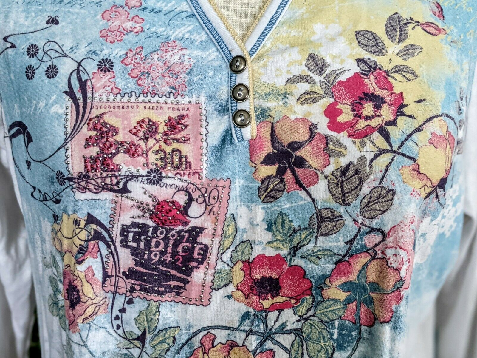 Vintage 1X Blue Canyon 3/4 Sleeve Top Floral Rhin… - image 7