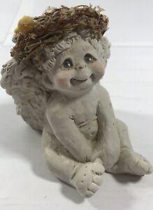 Vintage Sitting Angel Figurine Collectible Display Decoration Home Decor