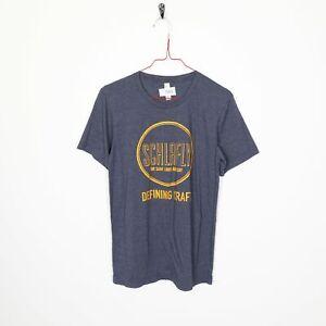 Vintage Schlafly Définir Craft Big Logo Graphique T Shirt Tee Bleu | Petit S