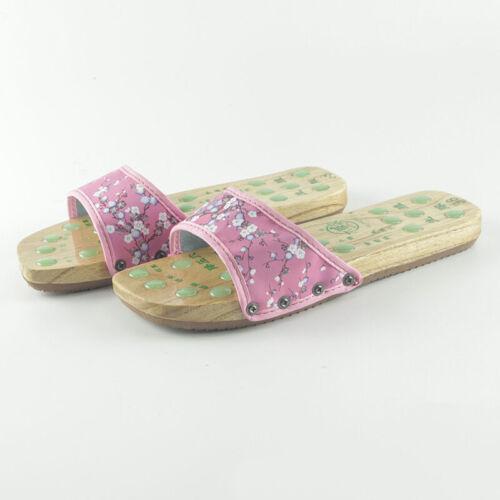 Women Geta Ladies Flower Massage Sandals Comfort Casual Wood Clog Cosplay Shoes