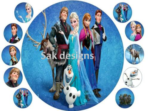 7 inch Frozen Family Cake topper and 10 cup cake topper on Edible Rice Paper