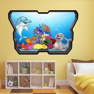 Charmant Dolphin Seal Hippocampe Poissons Mur Autocollant Mural Enfants Chambre à Coucher Maison Nursery Av2-afficher Le Titre D'origine Belle Et Charmante