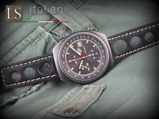 Cinturino in Pelle Vintage RACING 24 mm Watch Strap Band Nero Cuciture bianche