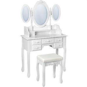 Coiffeuse-meuble-table-de-maquillage-tabouret-commode-avec-3-miroirs-blanc
