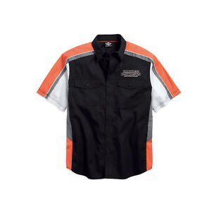 Harley-Davidson-Men-039-s-Performance-Vented-Pinstripe-Flames-Shirt-99046-16VM