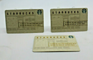 Starbucks 2015 Gift Card Recycled Burlap Coffee Bag Zero Balance Set of 3