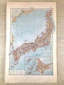 1906 Antik Map Of Japan Japanische Reich Saikado Deutsche Farbe Lithographie