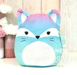 """*SALE* Squishmallow 12"""" Vickie the Pink & Blue Fox W/Flip Sequin NEW Plush HTF"""