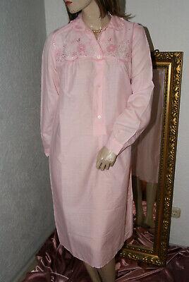 Energisch Langärmeliges Rosa Vintage Negligee Nachtkleid Kuschel Bestickt 40/42