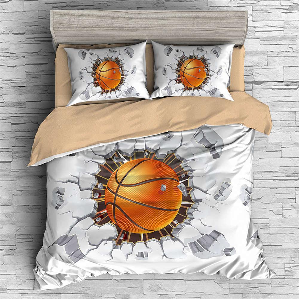 Basketball Smashed Wall 3D Digital Print Bedding Duvet Quilt Cover Pillowcase