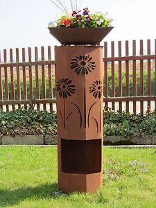 Saeule-Rost-Blumen-Edelrost-Garten-Deko-Stele-Rost-Deko-Rostsaeule-Saeule-rostig