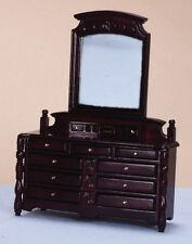 Mahogany Dressing Table,Drawers & Mirror,Miniature Furniture, Bedroom Dollhouse