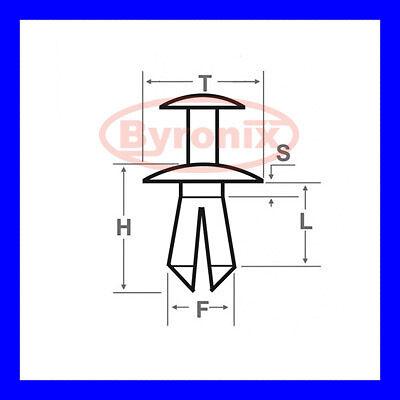DYQ100230 X 10 ROVER 25 45 75 MG ZS 200 400 BUMPER PLASTIC CLIPS RIVET SCRIVET