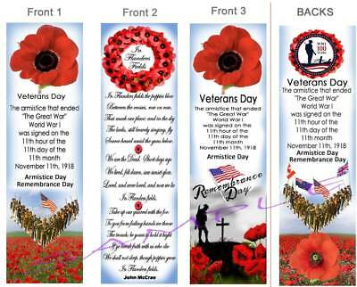 3 Set Veterans Day Bookmark 100yr Wwi Poppy Poppies Flanders