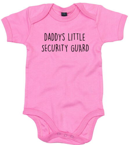 SECURITY GUARD BODY SUIT PERSONALISED DADDYS LITTLE BABY GROW GIFT