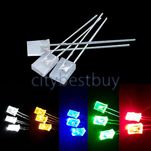 10PCS 2*5*7mm 2Pin Square Green Light LED Light-emitting Diode