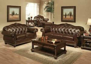 Formal Living Room Traditional Luxurious Leather 2pc Sofa Set Sofa ...