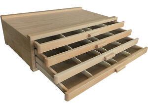 4 drawers artist wood box art pastel pen paint brush for Quality craft tool box