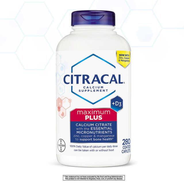 Citracal Maximum Plus Calcium Citrate + D3, 280 Caplets, Exp 2022