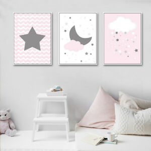 Stars Moon Canvas Poster Cartoon Nursery Wall Art Print Baby ...