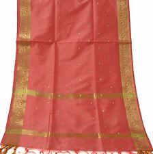 Indian Long Stole Woven Zari Brocade Art Silk Wrap Scarf Scraves Viel Peach