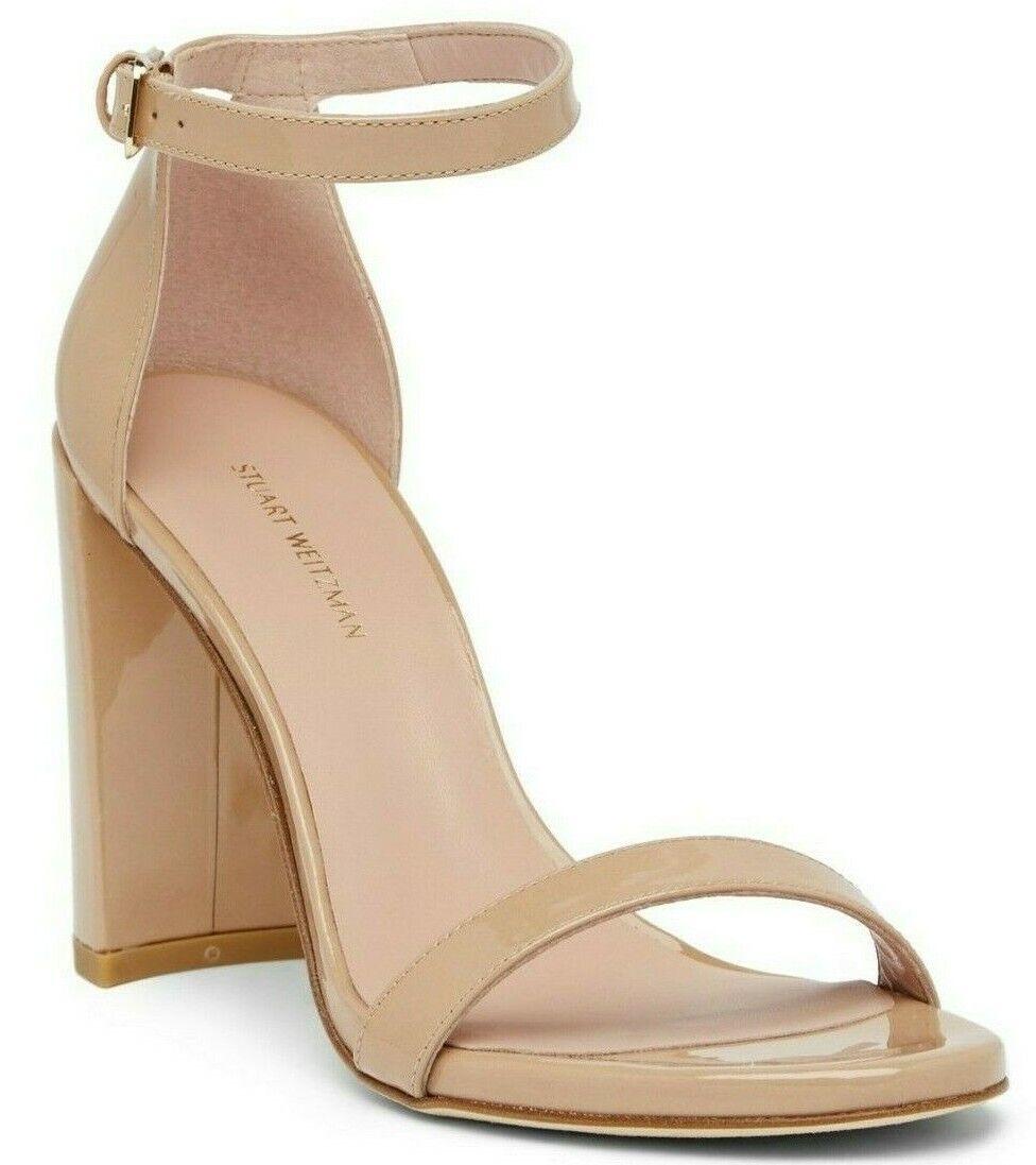 430 Stuart Weitzman Walkway Adobe Aniline Leather Block Heel Sandal Size 9.5
