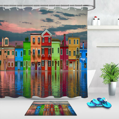 Colorful Riverside Town House Shower Curtain Liner Bath Mat Waterproof Fabric