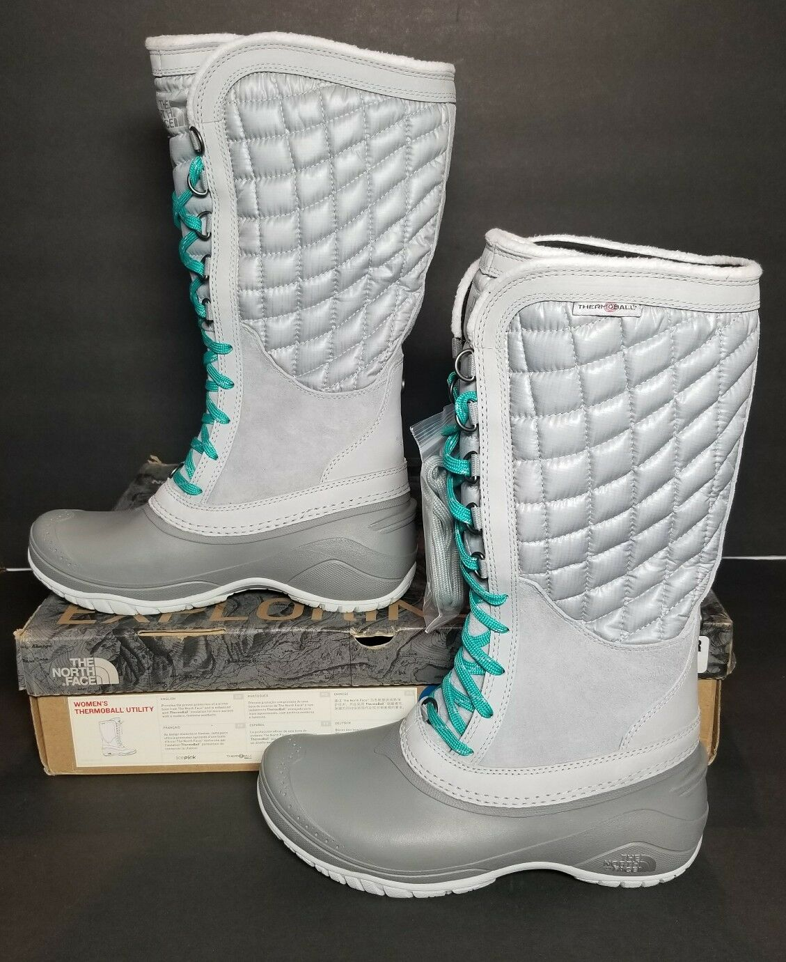 NORTH FACE WOMEN'S THERMOBALL UTILITY 6 HIGH RISE Stiefel SIZE 6 UTILITY & 8 NEW / BOX GREY d6574c