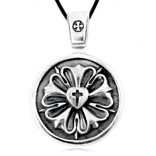 Luther rose seal symbol lutheran cross solid sterling silver pendant luther rose seal symbol lutheran cross solid sterling silver pendant necklace aloadofball Image collections
