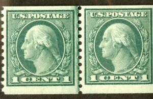 US-Stamps-452-1c-Washington-VF-OG-NH-Line-Pair