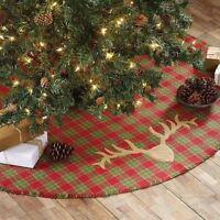 Vhc Trophy Ridge Woven Christmas Tree Skirt Ivory 60 Red Green Plaid Deer