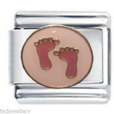 PINK BABY GIRL FEET - Daisy Charms JSC Fits Classic Size Italian Charm Bracelet