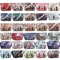 Ladies Oilcloth Floral Cross Body Messenger Bag Satchel Bag Shoulder School Bags