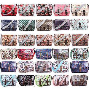 Ladies Oilcloth Floral Cross Body Messenger Bag Satchel Bag ...