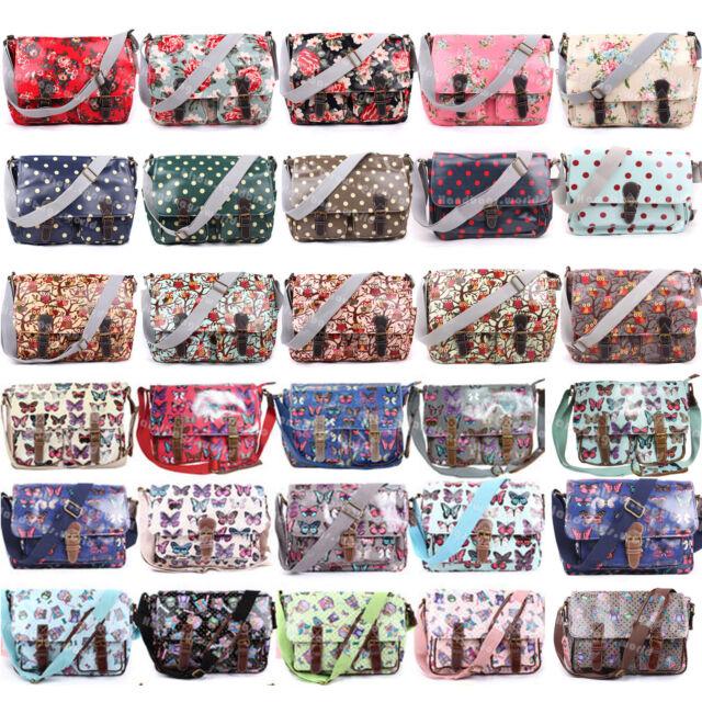 Ladies Oilcloth Floral Cross Body Messenger Bag Satchel Bag Shoulder School Bags