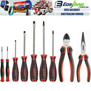 MPT-Screwdriver-Cutters-Pliers-Set-9pc-PRO-CR-V-Mechanics-Tool-Kit-in-Case-Nips