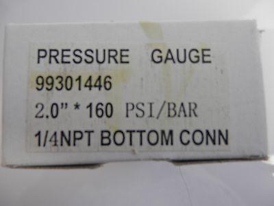 "Other Hydraulics & Pneumatics 99301446 Daughtridge Pressure Gauge 2.0"" 160 Psi/bar 1/4npt Bottom Conn Business & Industrial"